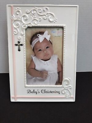 Nat & Jules Baby's Baptism Infant Christening Gift Frame White with Pink Accents