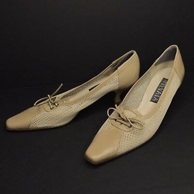 18755cdf7bf Prevata Leather Dress Pumps Kitten Heel Shoes 7.5 AA Tan Mesh Square Toe  Italy