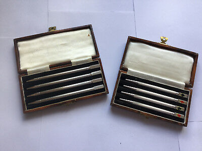 Two Sets Of Antique Sterling Silver   Bridge Pencils Fitted Cases