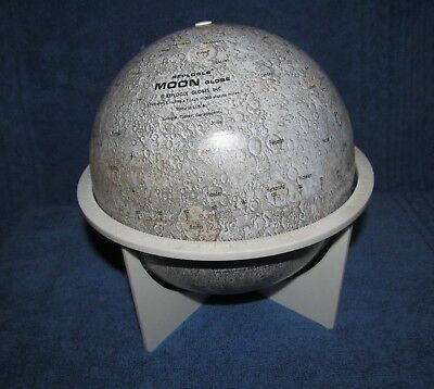 """1970's Vintage 6"""" MOON GLOBE by Replogle in GREAT Condition with Original Stand"""