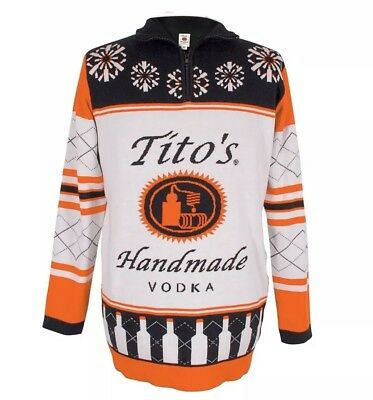 Titos Vodka Ugly Zip Up Sweater Holiday
