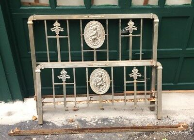 Antique Art Deco Nickel Brass Double (Full) Size Bed