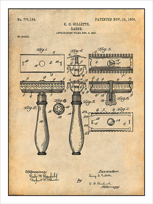 1901 Gillette Safety Razor Patent Print Art Drawing Poster 18X24