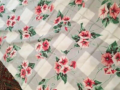"vintage tablecloth, grey, white, pink flowers, 64"" x 54"""