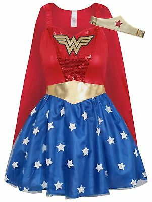 Adult DC Comics Red Wonder Woman Fancy Dress Costume Size 8-10 12-14 16-18
