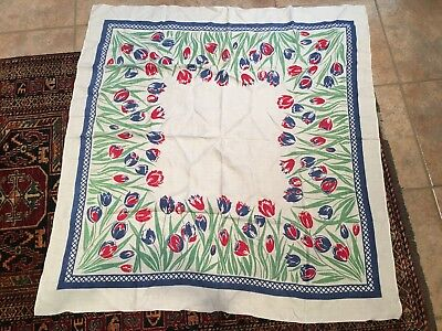 "vintage tablecloth, tulips, blue border, green and red, linen,  50"" x 48"", 1940s"