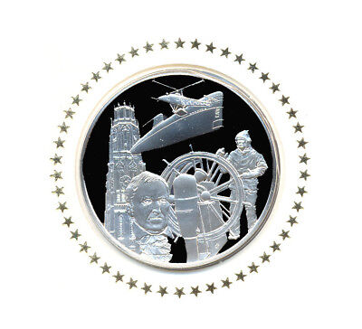 1976 State Of Connecticut Franklin Mint Sterling Silver Bicentennial Medal w/FDC