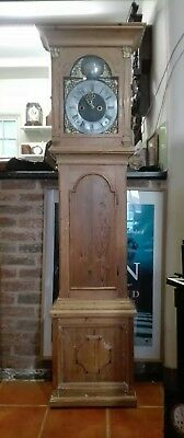 Antique Scandinavian Stripped Pine  8 Day Grandfather Clock - Oee Henrich