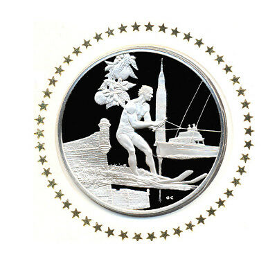 1976 State Of Florida Franklin Mint Sterling Silver Bicentennial Medal w/FDC