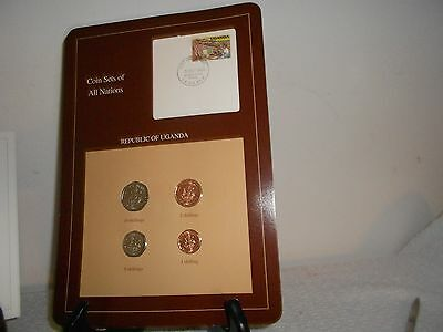 COIN SETS OF ALL NATIONS Republic of Uganda 4 Coins all 1987 1st day issue stamp