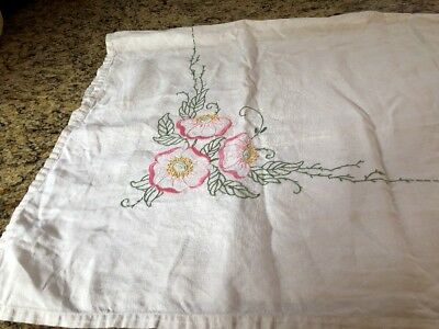 """Vintage Embroidered Floral Tablecloth. 48"""" X 50"""". Pink, Green, Yellow Floral"""