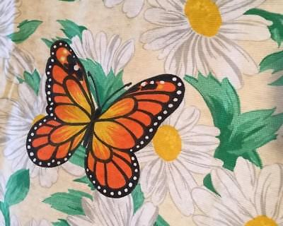 Vintage Queen Bedspread BUTTERFLIES AND DAISIES made In Spain NOS