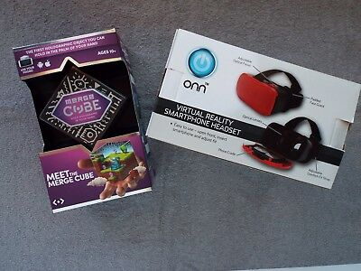 Merge Cube-Holographic -VR/AR with VR Smartphone Headset Bundle-RED (SH10)