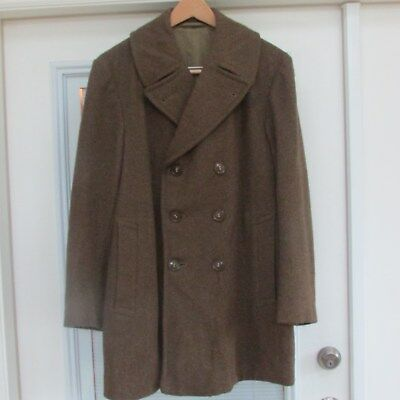 1942 US Army Vintage Wool Double Brested Overcoat  Mens 36 R