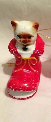 genuine Bone China Vintage old Ornament Cat Kitty Dog Puppy Chihuahua Boot 2""