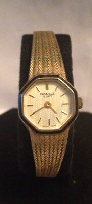 Vintage Old Ladies Woman's Wrist Watch Bulova Caravelle quartz Japan bezel gold