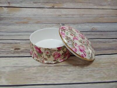 Chintz Collection by Royale Garden Staffordshire round trinket box roses England