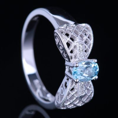 Solid 10K White Gold 6x4mm Oval Cut Sky Blue Topaz Diamond Wedding Fine Ring