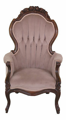 F46005EC: Victorian Style Solid Mahogany Gentleman's Parlor Chair