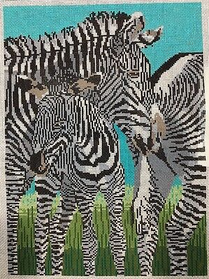 Susan Treglown Zebras Handpainted Needlepoint Canvas Design JB-1008 11x15