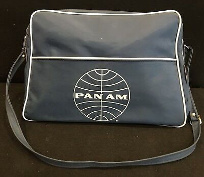 Vintage Pan Am Airlines Blue Carry On Tote Bag Authentic Stewardess Luggage 14""