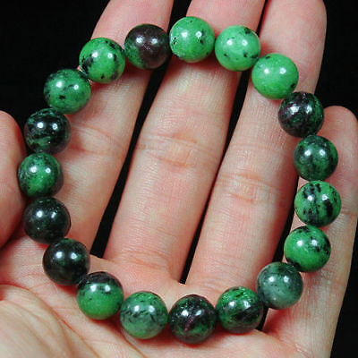 161.75Ct 100% Natural Red Green Bi Color Ruby In Zoisite Beads Bracelet BRG3