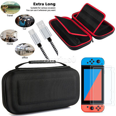 For Nintendo Switch Case Bag / 2x Tempered Glass Screen Protector / 2M 6ft Cable