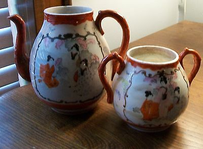 Vintage JAPANESE PORCELAIN KUTANI TEA POT  Geisha Girls