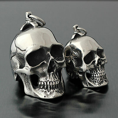 Men's Huge Heavy Gothic Vintage Silver Skull Stainless Steel Necklace Pendant