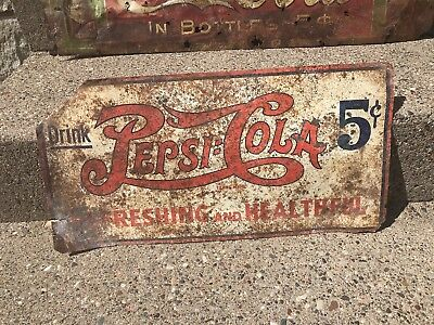 Rare Early 1930's Pepsi Cola Double Dot 5 Cents Tin Advertising Sign 23""