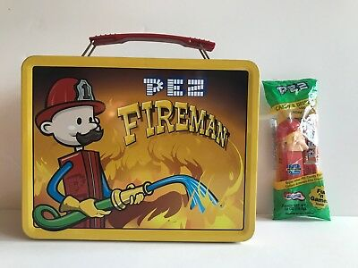 Pez Metal Lunch Box Fireman with Thermos  New
