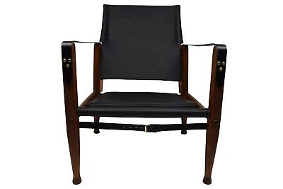 Kaare Klint safari chair with new aniline leather upholstery patinated ash frame