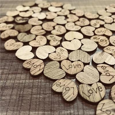 100Pcs Wooden Love Heart Wedding Table Scatter Decoration Crafts G