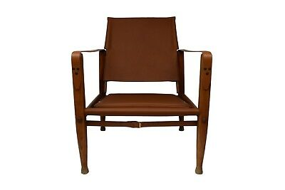 Kaare Klint safari chair with new aniline leather upholstery, patinated ash