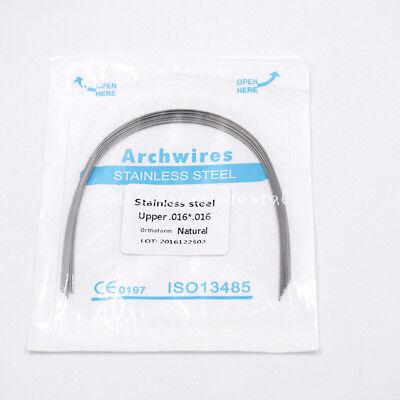 10 Pack Dental Ortho Stainless Steel Rectangular Arch Wires Natural 16*16 Upper