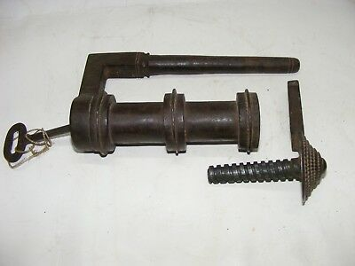 Old Vintage Handcrafted Unique Iron Cylindrical shape Lock With Key