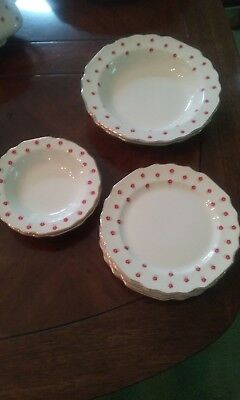 W.S. George Dishes Plates Blushing Rose Dalrymple Lido White Red Flowers Bowls