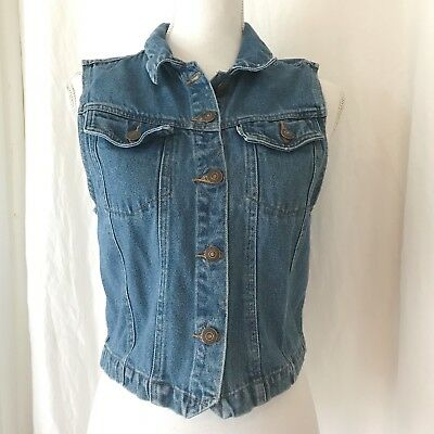 Vintage Levis Denim Vest Crop Top Cinch Back Girls Youth XL Womens Small Boho