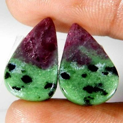 20.25cts. AAA Natural Pink Green Ruby Zoisite Pair Pear Cabochon Loose Gemstone