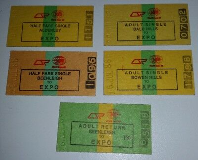 EXPO 88 Brisbane 5 different train rail tickets railway collectables