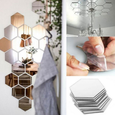 12Pcs 3D Mirror Hexagon Wall Stickers DIY Vinyl Art Home Room Removable Decors
