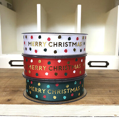 MERRY CHRISTMAS satin ribbon 25mm wide by the Metre - RED WHITE GREEN - 1 metre