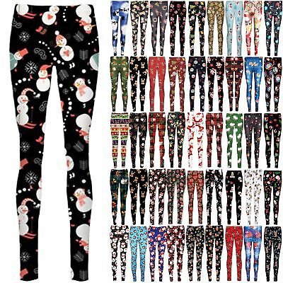 Womens Christmas Snowman Rudolph Santa Reindeer Bells Stars Ladies Xmas Leggings