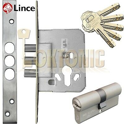 Lince 3 BOLT Mortice High Security Euro Dead Bolt Lock Case 5 Secure Dimple Keys