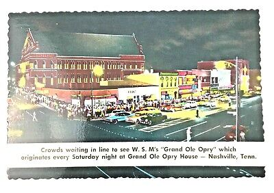 Vintage Postcard Grand Ole Opry House Nashville Tennessee Crowds Waiting in Line