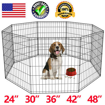 8 Panel Black Tall Dog Playpen Crate Fence Pet Kennel Play Pen Exercise Cage