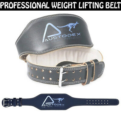 Austodex Weight lifting bodybuilding back support weightlifting Leather Belt 6""