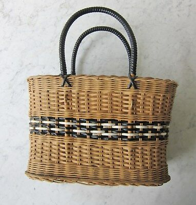 Mid Century Vintage Retro Original 1950s Cane and Plastic Shopping Basket