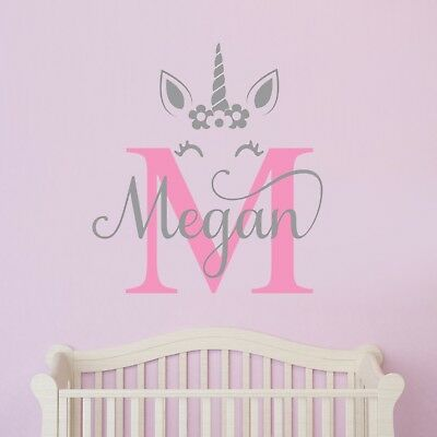 Custom Name Unicorn Wall Sticker Decal Personalised Nursery Art Kid Baby Bedroom