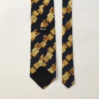 Hugo boss tie navy blue gold made in Italy 100% silk necktie pa0049
